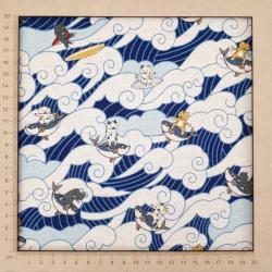 tissu en coton lin avec chats faisant du surf