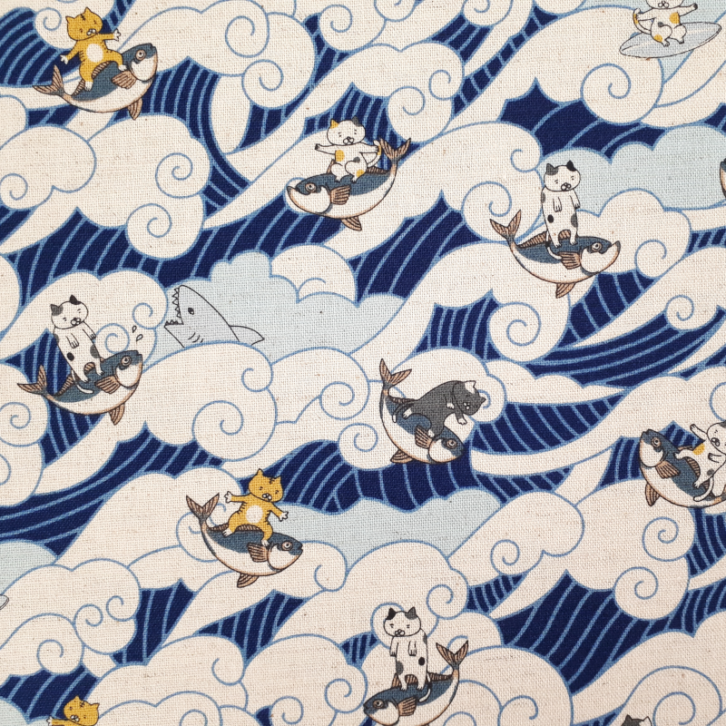 copy of Tissu coton lin gris Echino oiseaux et plantes