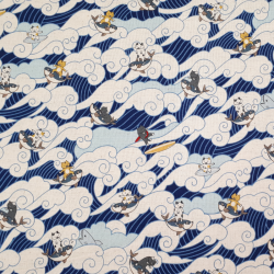 tissu japonais moderne en coton lin avec chats surfant sur la vague
