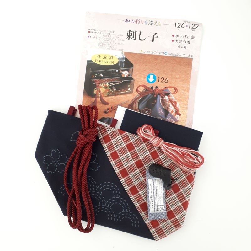 japanese embroidery bag kit with waves and cherry blossom