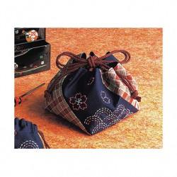 kit sashiko sac à lien rouge et indigo