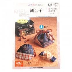 Kit broderie japonaise sashiko sac à liens rouge et indigo