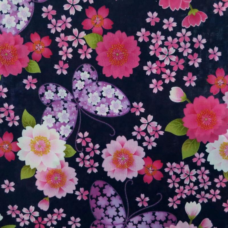 Tissu japonais bleu nuit fleurs de cerisier roses et papillons