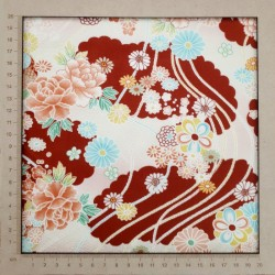 Tissu japonais gaufré rouge foncé fleurs et cordes