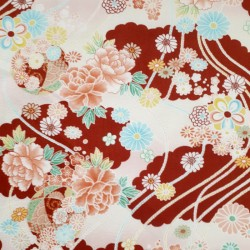 Japanese dark red embossed fabric with flowers and cords