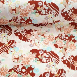 Tissu japonais coton gaufré rouge foncé fleurs et cordes