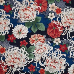 Japanese dobby cotton fabric with chrysanthemum on blue