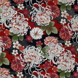 Japanese red and black fabric with chrysanthemum