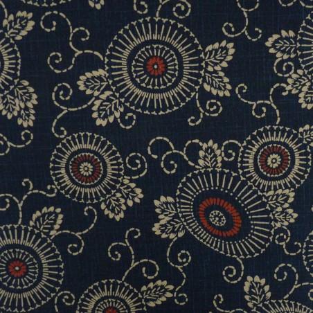 tissu japonais arabesques et fleurs bleu nuit avec rouge
