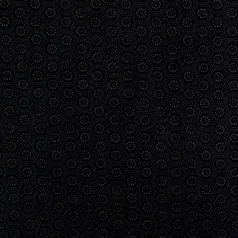 Tissu japonais petits motifs fleurs et hexagones en coton