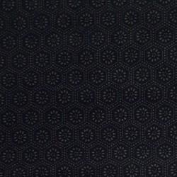 Dark blue indigo japanese fabric with flowers and hexagon patterns