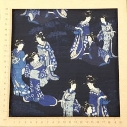 Dark blue indigo japanese fabric with ladies in kimono patterns