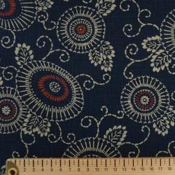 tissu fleurs et arabesques indigo