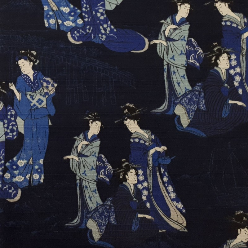 Dark blue indigo japanese fabric with ladies in kimono patterns.