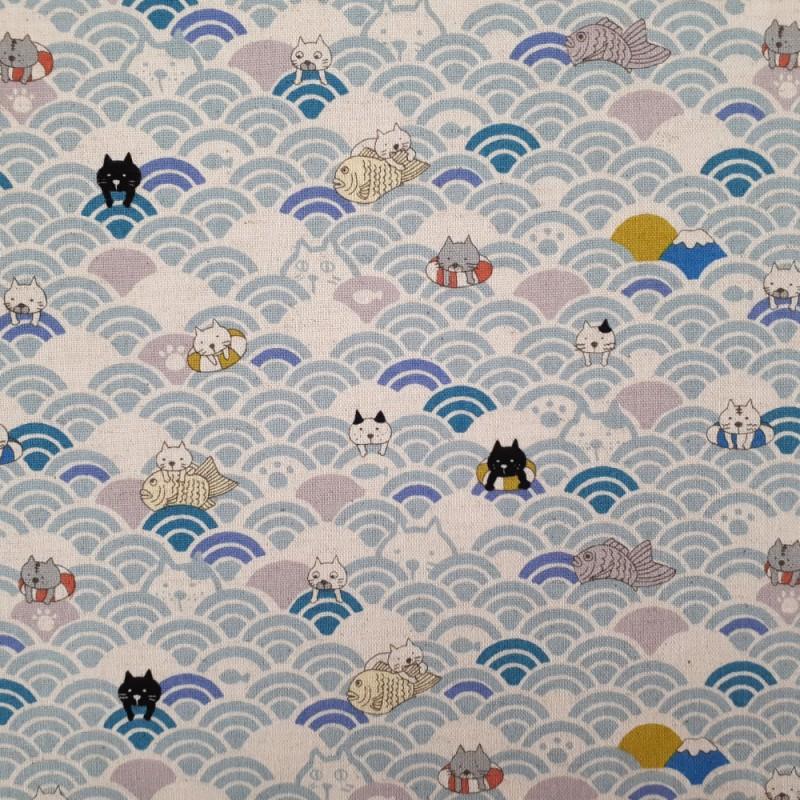 tissu japonais moderne en coton lin avec chats et vagues seigaiha bleu clair