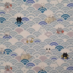 Japanese cotton linen fabric with cats and light blue waves
