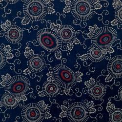 tissu indigo fleurs et arabesques japonais en coton