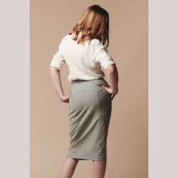 Easy pencil stretch skirt pattern - long version Brume from Deer and Doe