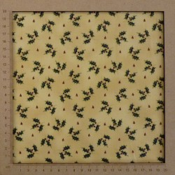 Christmas fabric holly pattern beige