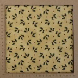 tissu beige motifs de houx