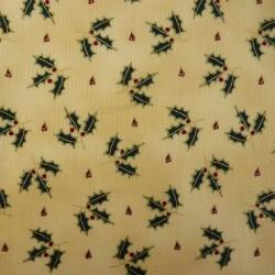 tissu pour créations de Noël à motifs de houx vert et rouge
