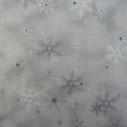 Grey and silver snowflake Christmas fabric