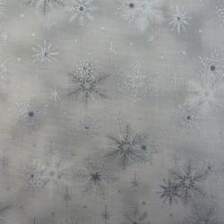 Tissu flocons de neige argent et gris