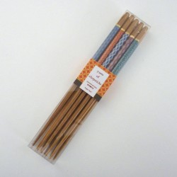 japanese chopsticks - 5 pairs with geometrical patterns