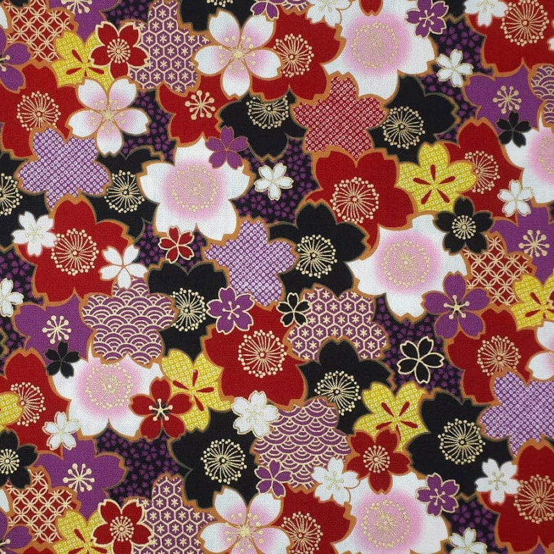 Japanese fabric colorful cherry blossom