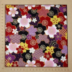 Japanese cotton fabric with red black purple yellow cherry blossom