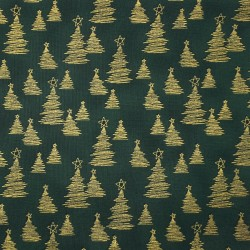 Christmas fabric with gold trees on dark green cotton fabric