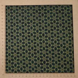 Tissu patchwork pour Noël vert avec motifs d'étoiles dorées