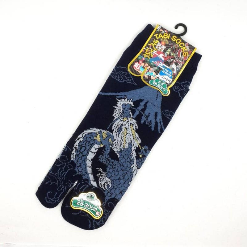Dark blue Japanese tabi socks with dragon and Mt Fuji patterns