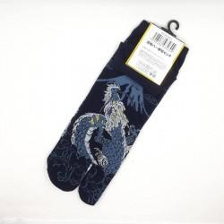 Chaussettes tabi dragon et Mt Fuji bleu nuit pointures 44 45 46 47