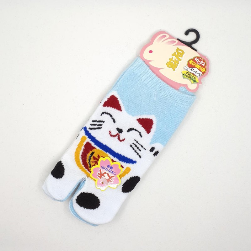 Blue Japanese tabi socks for kids with manekineko pattern size 26 to 34