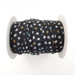 Black bias binding tape with dots 20mm sold by the meter