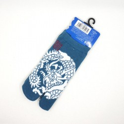 Blue Japanese tabi socks for kids with dragon pattern size 26 to 34