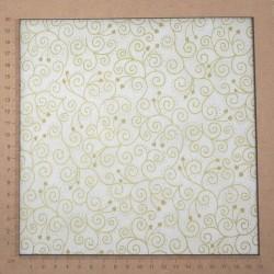 Tissu blanc et doré arabesques et coeurs