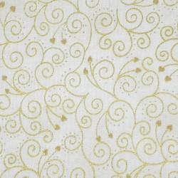 Tissu coton blanc arabesques et coeurs dorés
