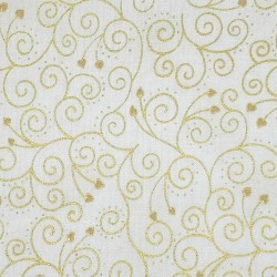 White fabric with gold arabesque and hearts patterns