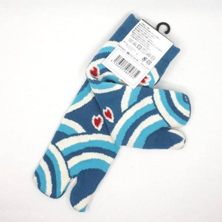 Chaussettes tabi bleues vagues et fleurs de cerisier pointure 39 à 44