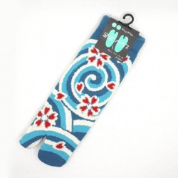 Japanese short tabi socks with whirlwinds and sakura patterns