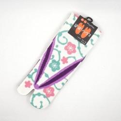 Chaussettes tabi fausses claquettes blanches fleurs de prunier pointure 35 à 38