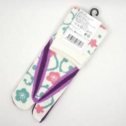 Chaussettes japonaieses blanches fleurs de prunier et arabesques femme 35 à 38