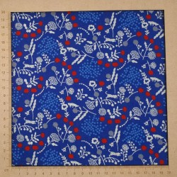 Echino blue cotton-linen fabric with plants and cheetah patterns