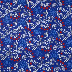 Tissu Echino coton-lin bleu électrique plantes et guépards