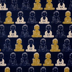 Night blue Japanese Buddha fabric