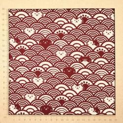 Tissu japonais vagues et chats rouge foncé et écru