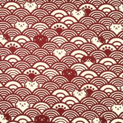 Dark Japanese red fabric with cats and waves