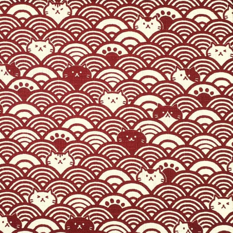 Tissu vagues et chats rouge foncé